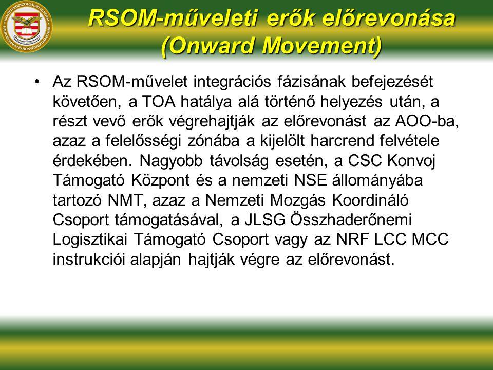 RSOM-műveleti erők előrevonása (Onward Movement) Az RSOM-művelet integrációs fázisának befejezését követően, a TOA hatálya alá történő helyezés után, a részt vevő erők végrehajtják az előrevonást az AOO-ba, azaz a felelősségi zónába a kijelölt harcrend felvétele érdekében.