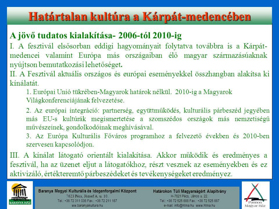 Baranya Megyei Kulturális és Idegenforgalmi Központ 7623 Pécs, József A. u. 10. Tel.: +36 72 311 036 Fax.: +36 72 211 167 ww.baranyaikultura.hu Határo