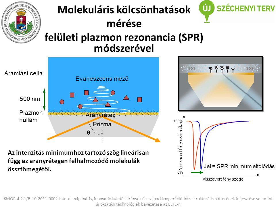 Molekuláris kölcsönhatások mérése felületi plazmon rezonancia (SPR) módszerével KMOP-4.2.1/B-10-2011-0002 Interdiszciplináris, innovatív kutatási irán