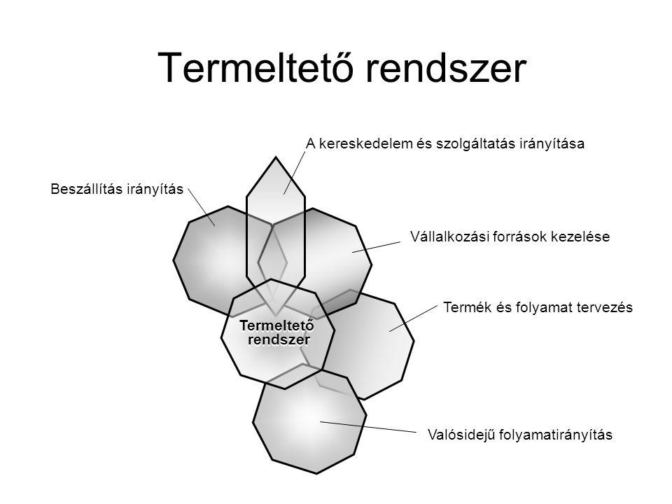 Termék és folyamat tervezés Termeltető rendszer Beszállítás irányítás Vállalkozási források kezelése A kereskedelem és szolgáltatás irányítása Valósid