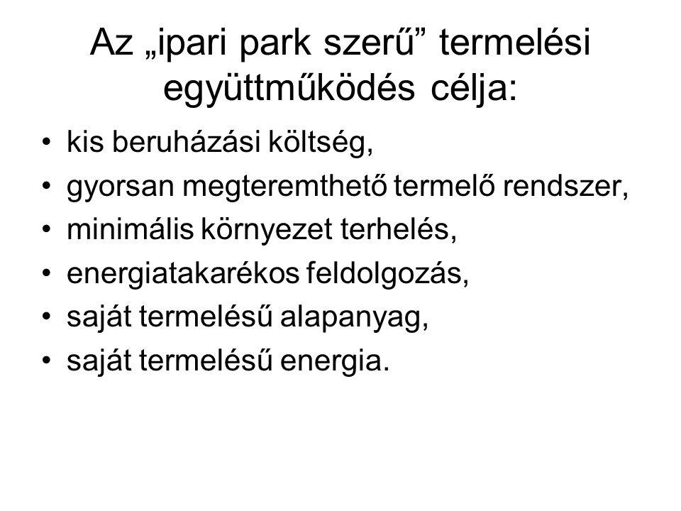 """Az """"ipari park szerű"""" termelési együttműködés célja: kis beruházási költség, gyorsan megteremthető termelő rendszer, minimális környezet terhelés, ene"""