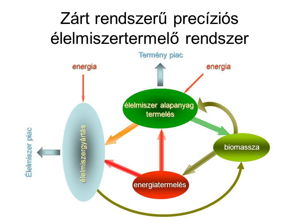energia hulladék Zárt rendszerű precíziós élelmiszertermelő rendszer biomassza Termény piac energiatermelés Élelmiszer piac élelmiszergyártás élelmisz