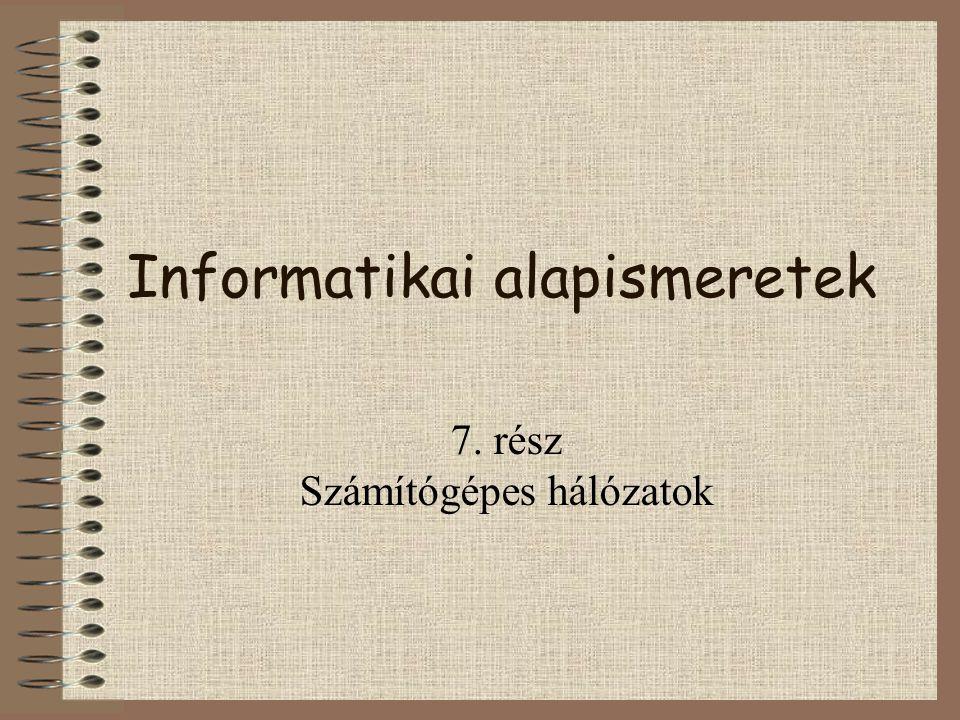 Informatikai alapismeretek 7. rész Számítógépes hálózatok