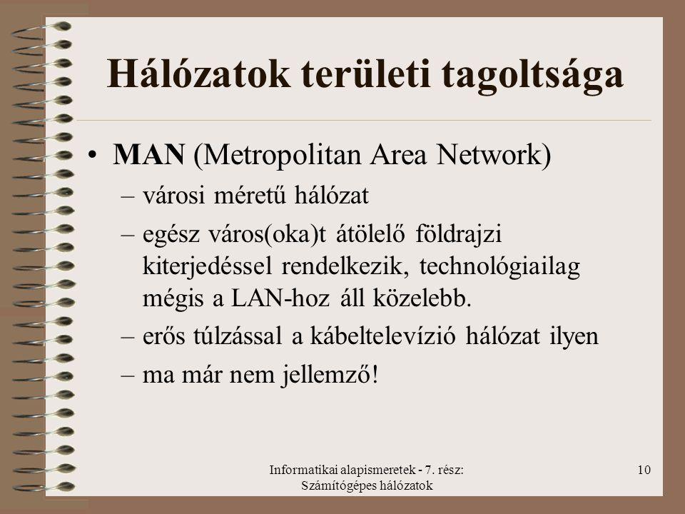 Informatikai alapismeretek - 7. rész: Számítógépes hálózatok 10 Hálózatok területi tagoltsága MAN (Metropolitan Area Network) –városi méretű hálózat –