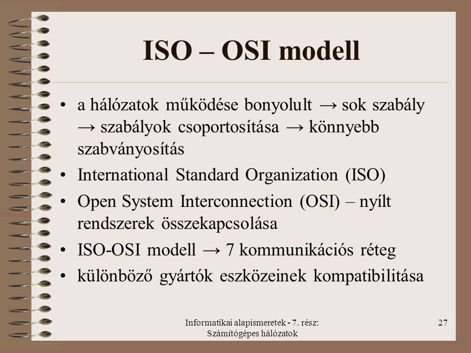 Informatikai alapismeretek - 7. rész: Számítógépes hálózatok 27 ISO – OSI modell a hálózatok működése bonyolult → sok szabály → szabályok csoportosítá