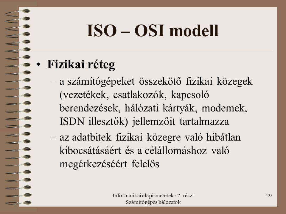 Informatikai alapismeretek - 7. rész: Számítógépes hálózatok 29 ISO – OSI modell Fizikai réteg –a számítógépeket összekötő fizikai közegek (vezetékek,