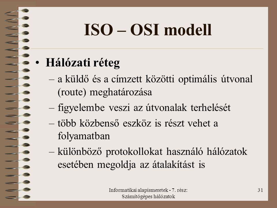 Informatikai alapismeretek - 7. rész: Számítógépes hálózatok 31 ISO – OSI modell Hálózati réteg –a küldő és a címzett közötti optimális útvonal (route