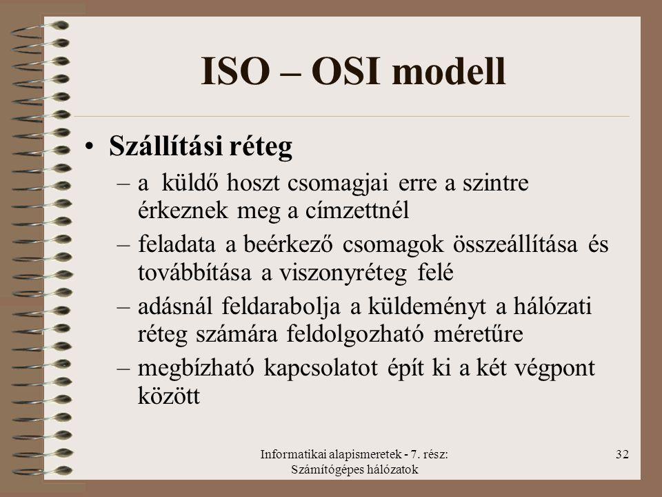 Informatikai alapismeretek - 7. rész: Számítógépes hálózatok 32 ISO – OSI modell Szállítási réteg –a küldő hoszt csomagjai erre a szintre érkeznek meg