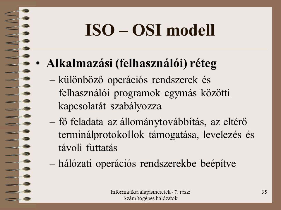 Informatikai alapismeretek - 7. rész: Számítógépes hálózatok 35 ISO – OSI modell Alkalmazási (felhasználói) réteg –különböző operációs rendszerek és f