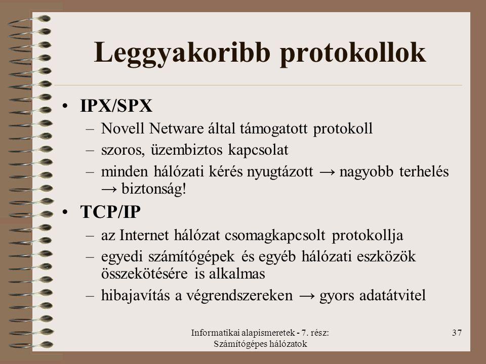 Informatikai alapismeretek - 7. rész: Számítógépes hálózatok 37 Leggyakoribb protokollok IPX/SPX –Novell Netware által támogatott protokoll –szoros, ü