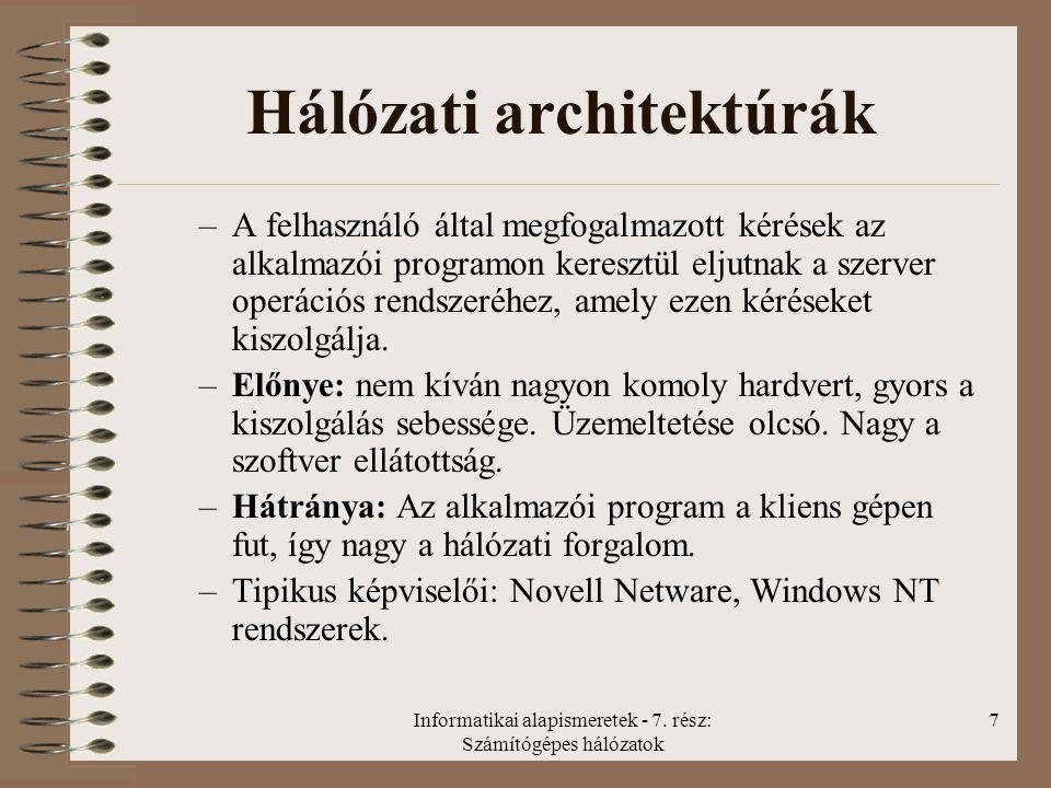 Informatikai alapismeretek - 7. rész: Számítógépes hálózatok 7 Hálózati architektúrák –A felhasználó által megfogalmazott kérések az alkalmazói progra