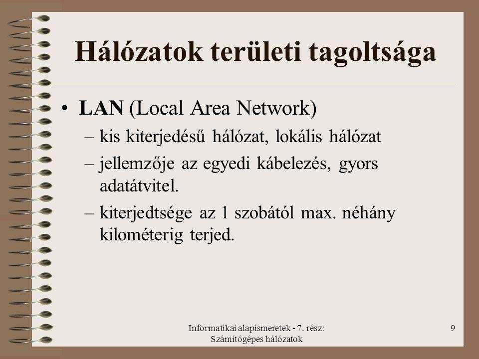 Informatikai alapismeretek - 7. rész: Számítógépes hálózatok 9 Hálózatok területi tagoltsága LAN (Local Area Network) –kis kiterjedésű hálózat, lokáli