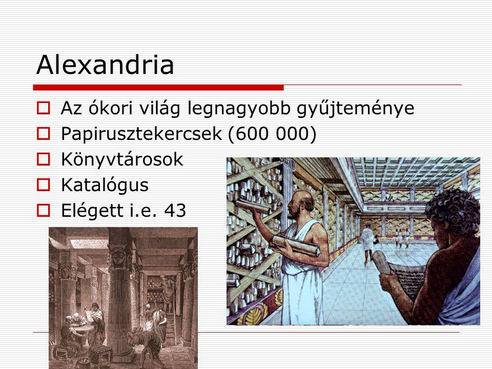 Alexandria  Az ókori világ legnagyobb gyűjteménye  Papirusztekercsek (600 000)  Könyvtárosok  Katalógus  Elégett i.e.