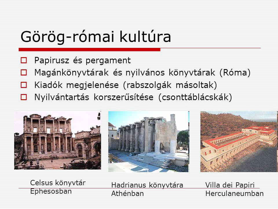 Görög-római kultúra  Papirusz és pergament  Magánkönyvtárak és nyilvános könyvtárak (Róma)  Kiadók megjelenése (rabszolgák másoltak)  Nyilvántartás korszerűsítése (csonttáblácskák) Celsus könyvtár Ephesosban Hadrianus könyvtára Athénban Villa dei Papiri Herculaneumban
