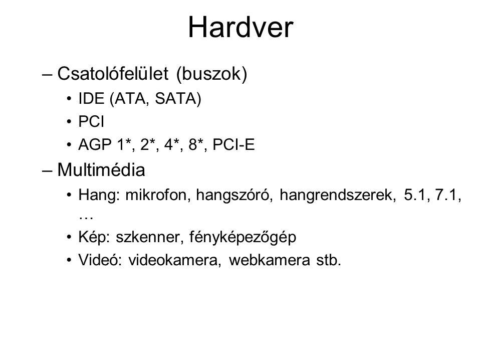 Hardver –Csatolófelület (buszok) IDE (ATA, SATA) PCI AGP 1*, 2*, 4*, 8*, PCI-E –Multimédia Hang: mikrofon, hangszóró, hangrendszerek, 5.1, 7.1, … Kép: szkenner, fényképezőgép Videó: videokamera, webkamera stb.