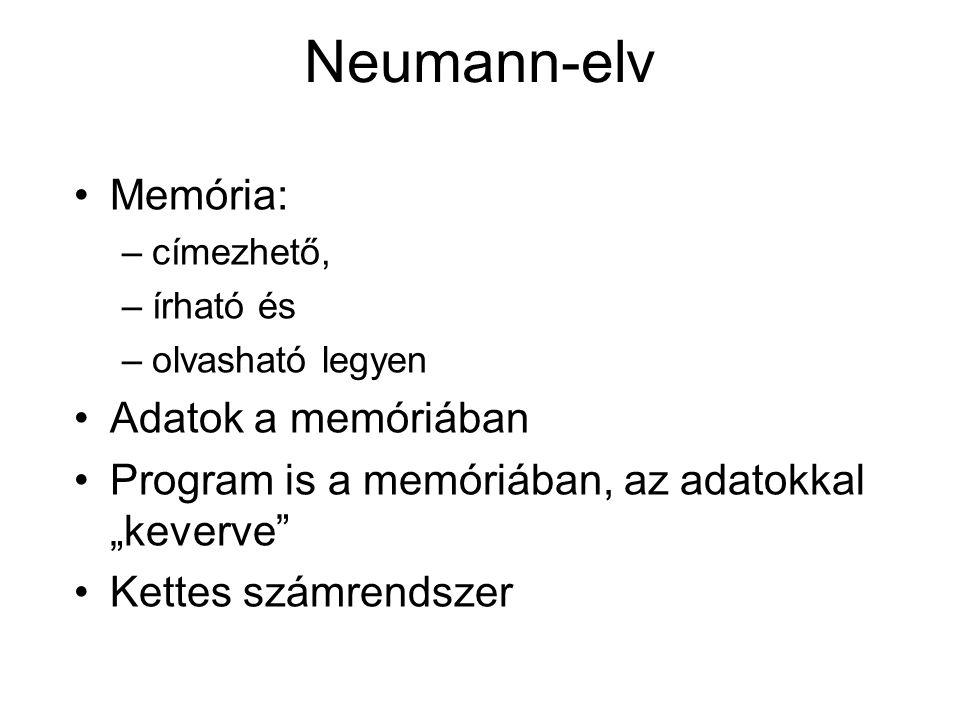 """Memória: –címezhető, –írható és –olvasható legyen Adatok a memóriában Program is a memóriában, az adatokkal """"keverve Kettes számrendszer Neumann-elv"""