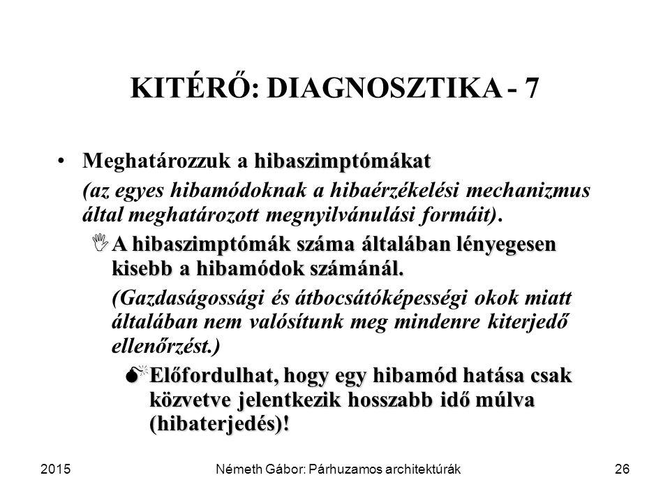 2015Németh Gábor: Párhuzamos architektúrák26 KITÉRŐ: DIAGNOSZTIKA - 7 hibaszimptómákatMeghatározzuk a hibaszimptómákat (az egyes hibamódoknak a hibaérzékelési mechanizmus által meghatározott megnyilvánulási formáit).