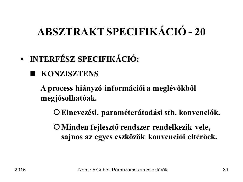 2015Németh Gábor: Párhuzamos architektúrák31 ABSZTRAKT SPECIFIKÁCIÓ - 20 INTERFÉSZ SPECIFIKÁCIÓ:INTERFÉSZ SPECIFIKÁCIÓ: KONZISZTENS A process hiányzó információi a meglévőkből megjósolhatóak.