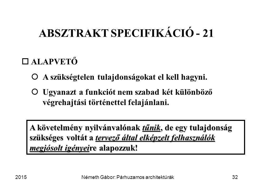 2015Németh Gábor: Párhuzamos architektúrák32 ABSZTRAKT SPECIFIKÁCIÓ - 21  ALAPVETŐ  A szükségtelen tulajdonságokat el kell hagyni.  Ugyanazt a fu