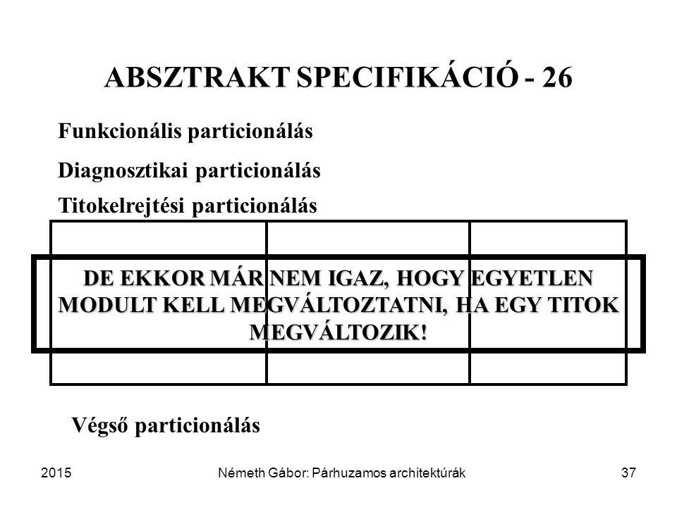2015Németh Gábor: Párhuzamos architektúrák37 ABSZTRAKT SPECIFIKÁCIÓ - 26 Funkcionális particionálás Diagnosztikai particionálás Végső particionálás Titokelrejtési particionálás DE EKKOR MÁR NEM IGAZ, HOGY EGYETLEN MODULT KELL MEGVÁLTOZTATNI, HA EGY TITOK MEGVÁLTOZIK!
