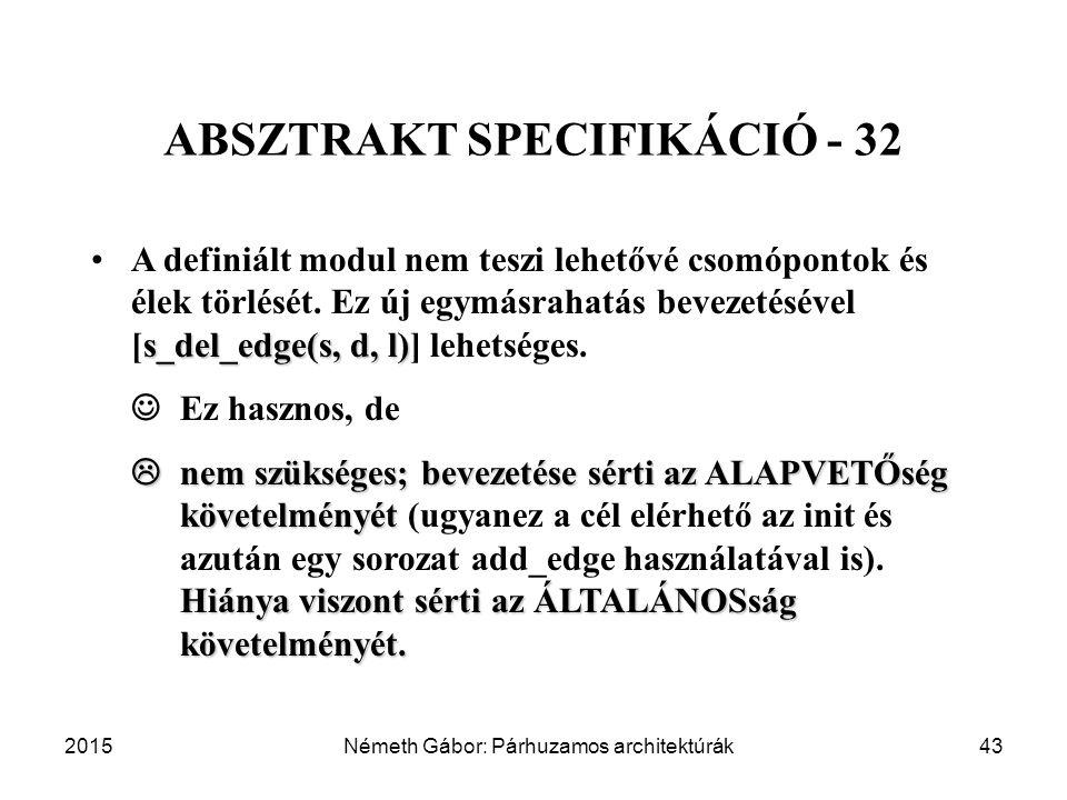 2015Németh Gábor: Párhuzamos architektúrák43 ABSZTRAKT SPECIFIKÁCIÓ - 32 s_del_edge(s, d, l)A definiált modul nem teszi lehetővé csomópontok és élek törlését.