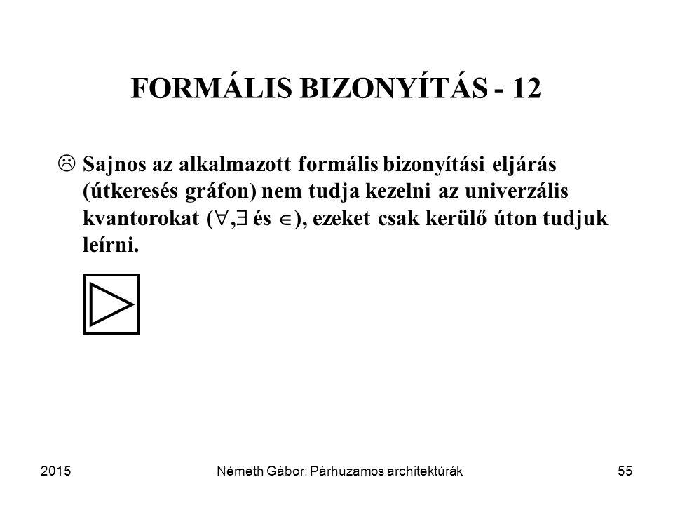 2015Németh Gábor: Párhuzamos architektúrák55 FORMÁLIS BIZONYÍTÁS - 12  Sajnos az alkalmazott formális bizonyítási eljárás (útkeresés gráfon) nem tudj