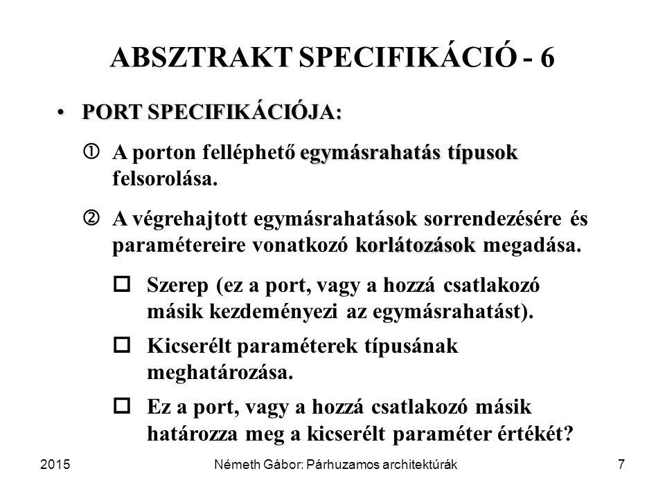 2015Németh Gábor: Párhuzamos architektúrák7 ABSZTRAKT SPECIFIKÁCIÓ - 6 PORT SPECIFIKÁCIÓJA:PORT SPECIFIKÁCIÓJA: egymásrahatás típusok  A porton felléphető egymásrahatás típusok felsorolása.