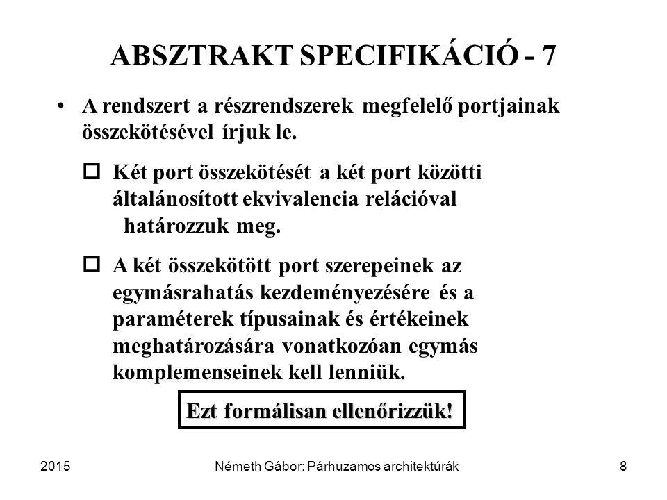 2015Németh Gábor: Párhuzamos architektúrák8 ABSZTRAKT SPECIFIKÁCIÓ - 7 A rendszert a részrendszerek megfelelő portjainak összekötésével írjuk le.