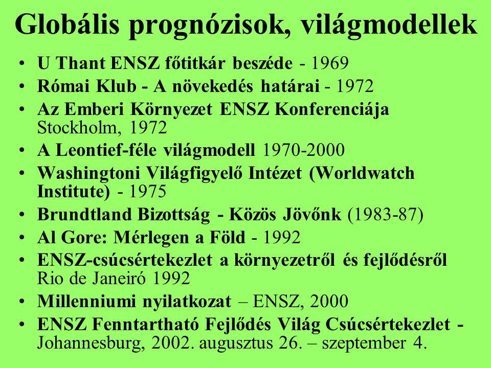 Globális prognózisok, világmodellek U Thant ENSZ főtitkár beszéde - 1969 Római Klub - A növekedés határai - 1972 Az Emberi Környezet ENSZ Konferenciája Stockholm, 1972 A Leontief-féle világmodell 1970-2000 Washingtoni Világfigyelő Intézet (Worldwatch Institute) - 1975 Brundtland Bizottság - Közös Jövőnk (1983-87) Al Gore: Mérlegen a Föld - 1992 ENSZ-csúcsértekezlet a környezetről és fejlődésről Rio de Janeiró 1992 Millenniumi nyilatkozat – ENSZ, 2000 ENSZ Fenntartható Fejlődés Világ Csúcsértekezlet - Johannesburg, 2002.