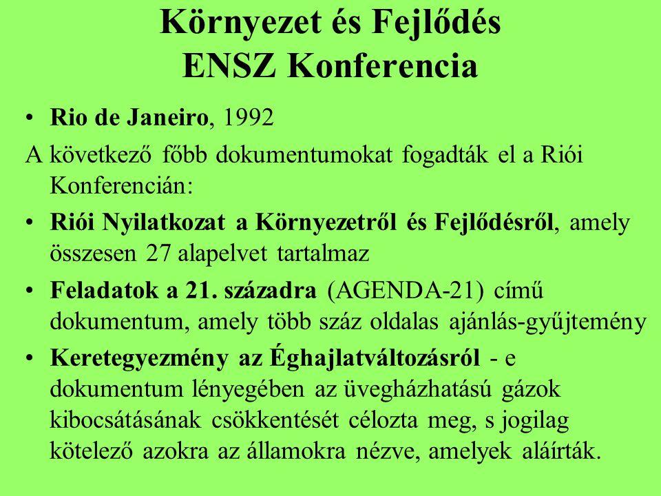 Környezet és Fejlődés ENSZ Konferencia Rio de Janeiro, 1992 A következő főbb dokumentumokat fogadták el a Riói Konferencián: Riói Nyilatkozat a Környezetről és Fejlődésről, amely összesen 27 alapelvet tartalmaz Feladatok a 21.