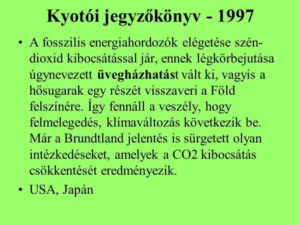 Kyotói jegyzőkönyv - 1997 A fosszilis energiahordozók elégetése szén- dioxid kibocsátással jár, ennek légkörbejutása úgynevezett üvegházhatást vált ki, vagyis a hősugarak egy részét visszaveri a Föld felszínére.