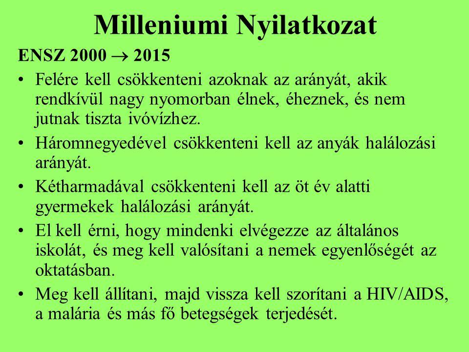 Milleniumi Nyilatkozat ENSZ 2000  2015 Felére kell csökkenteni azoknak az arányát, akik rendkívül nagy nyomorban élnek, éheznek, és nem jutnak tiszta ivóvízhez.