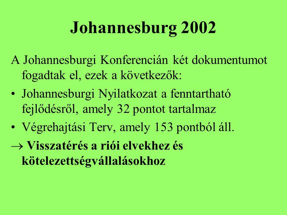 Johannesburg 2002 A Johannesburgi Konferencián két dokumentumot fogadtak el, ezek a következők: Johannesburgi Nyilatkozat a fenntartható fejlődésről, amely 32 pontot tartalmaz Végrehajtási Terv, amely 153 pontból áll.