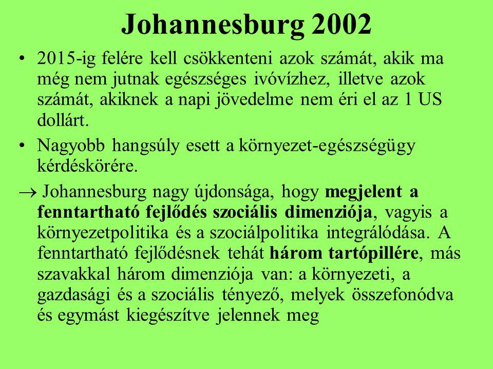 Johannesburg 2002 2015-ig felére kell csökkenteni azok számát, akik ma még nem jutnak egészséges ivóvízhez, illetve azok számát, akiknek a napi jövedelme nem éri el az 1 US dollárt.