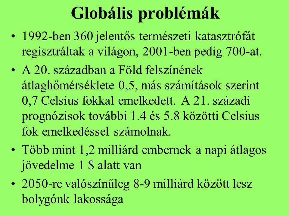 Globális problémák 1992-ben 360 jelentős természeti katasztrófát regisztráltak a világon, 2001-ben pedig 700-at.