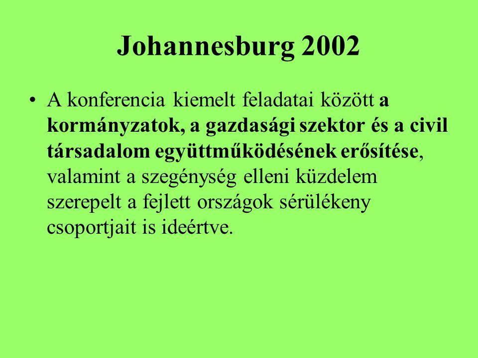 Johannesburg 2002 A konferencia kiemelt feladatai között a kormányzatok, a gazdasági szektor és a civil társadalom együttműködésének erősítése, valamint a szegénység elleni küzdelem szerepelt a fejlett országok sérülékeny csoportjait is ideértve.