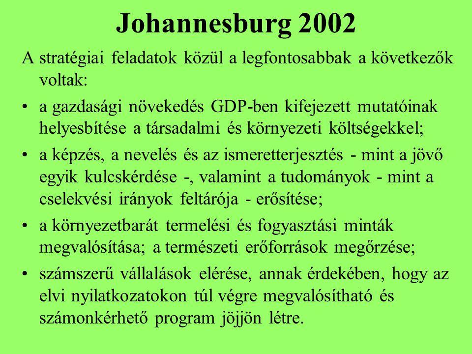 Johannesburg 2002 A stratégiai feladatok közül a legfontosabbak a következők voltak: a gazdasági növekedés GDP-ben kifejezett mutatóinak helyesbítése a társadalmi és környezeti költségekkel; a képzés, a nevelés és az ismeretterjesztés - mint a jövő egyik kulcskérdése -, valamint a tudományok - mint a cselekvési irányok feltárója - erősítése; a környezetbarát termelési és fogyasztási minták megvalósítása; a természeti erőforrások megőrzése; számszerű vállalások elérése, annak érdekében, hogy az elvi nyilatkozatokon túl végre megvalósítható és számonkérhető program jöjjön létre.