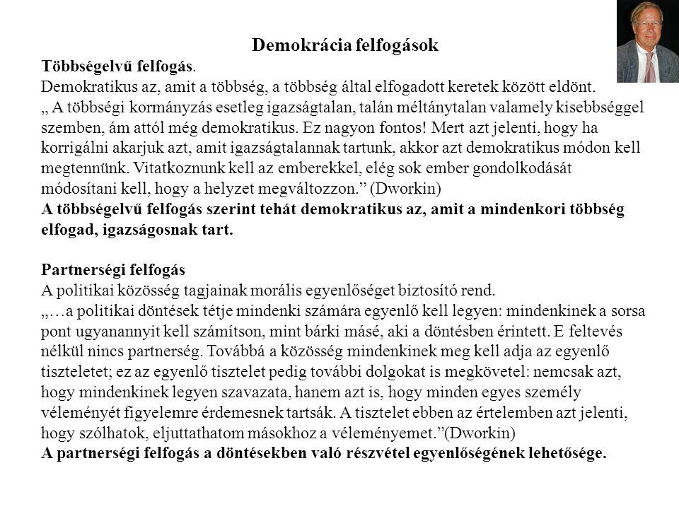 """Demokrácia felfogások Többségelvű felfogás. Demokratikus az, amit a többség, a többség által elfogadott keretek között eldönt. """" A többségi kormányzás"""