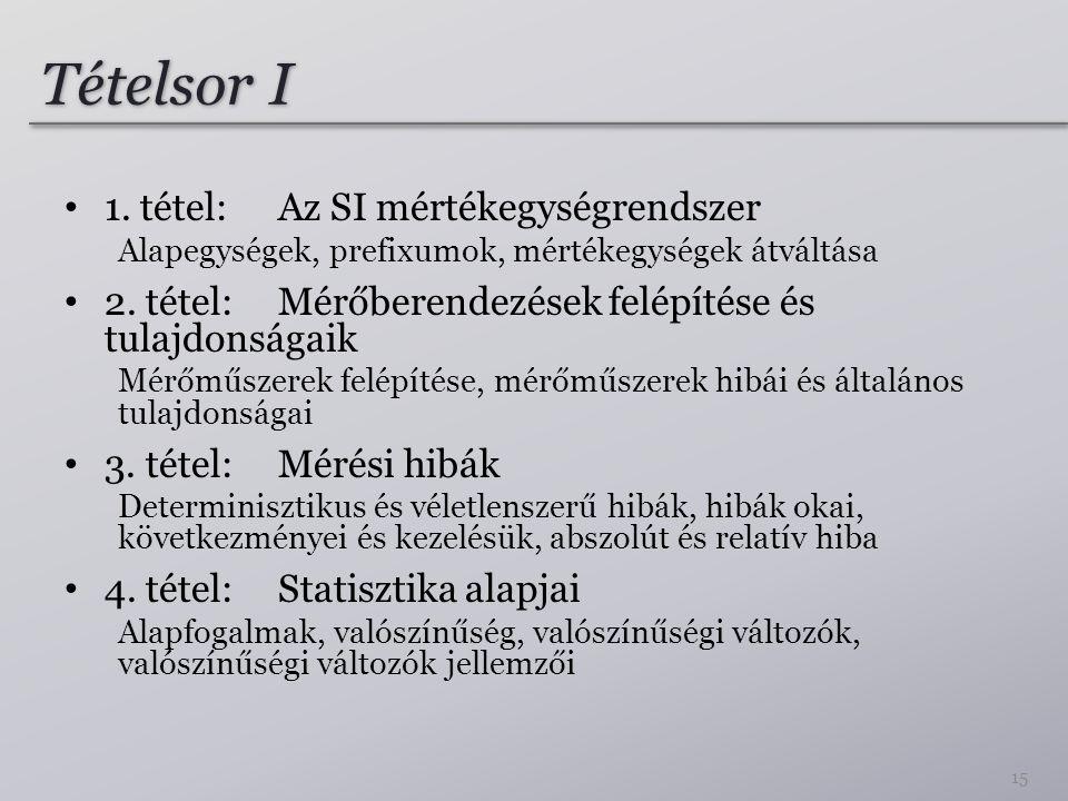 Tételsor I 1. tétel: Az SI mértékegységrendszer Alapegységek, prefixumok, mértékegységek átváltása 2. tétel: Mérőberendezések felépítése és tulajdonsá