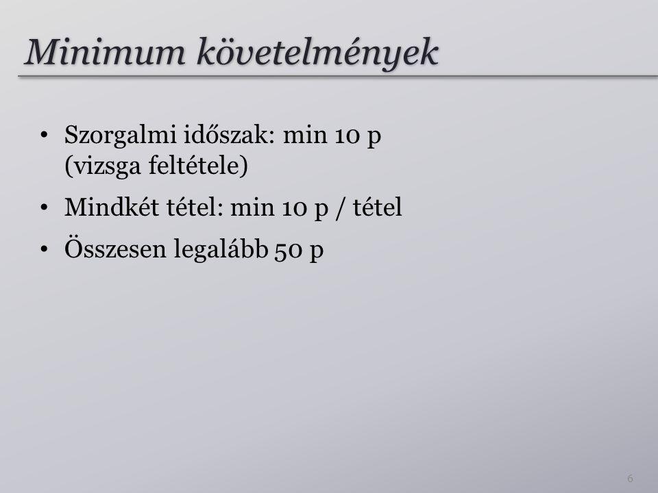 Minimum követelmények Szorgalmi időszak: min 10 p (vizsga feltétele) Mindkét tétel: min 10 p / tétel Összesen legalább 50 p 6