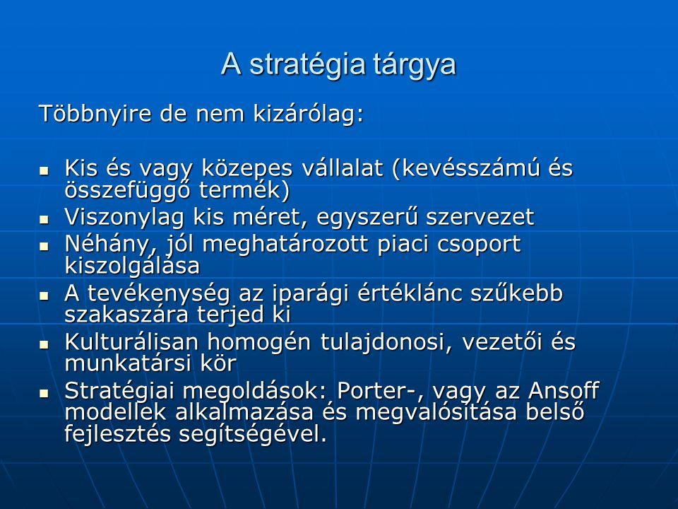 A stratégia tárgya Többnyire de nem kizárólag: Kis és vagy közepes vállalat (kevésszámú és összefüggő termék) Kis és vagy közepes vállalat (kevésszámú