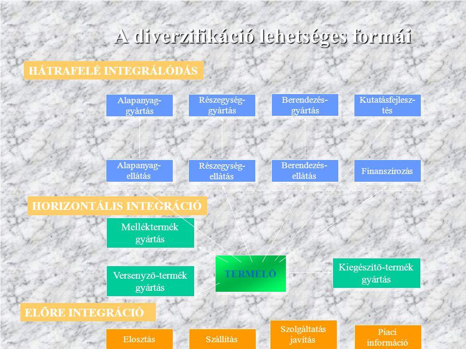 TERMELÕ Versenyzõ-termék gyártás Melléktermék gyártás Kiegészítõ-termék gyártás HORIZONTÁLIS INTEGRÁCIÓ Alapanyag- ellátás Részegység- ellátás Berende