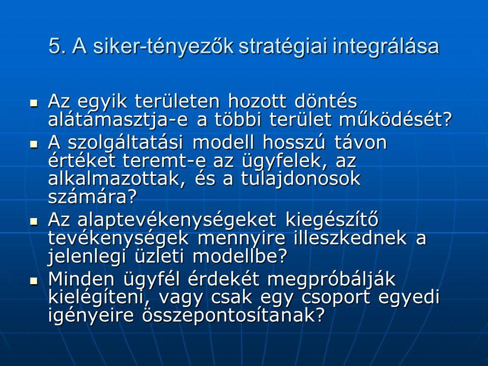 5. A siker-tényezők stratégiai integrálása Az egyik területen hozott döntés alátámasztja-e a többi terület működését? Az egyik területen hozott döntés