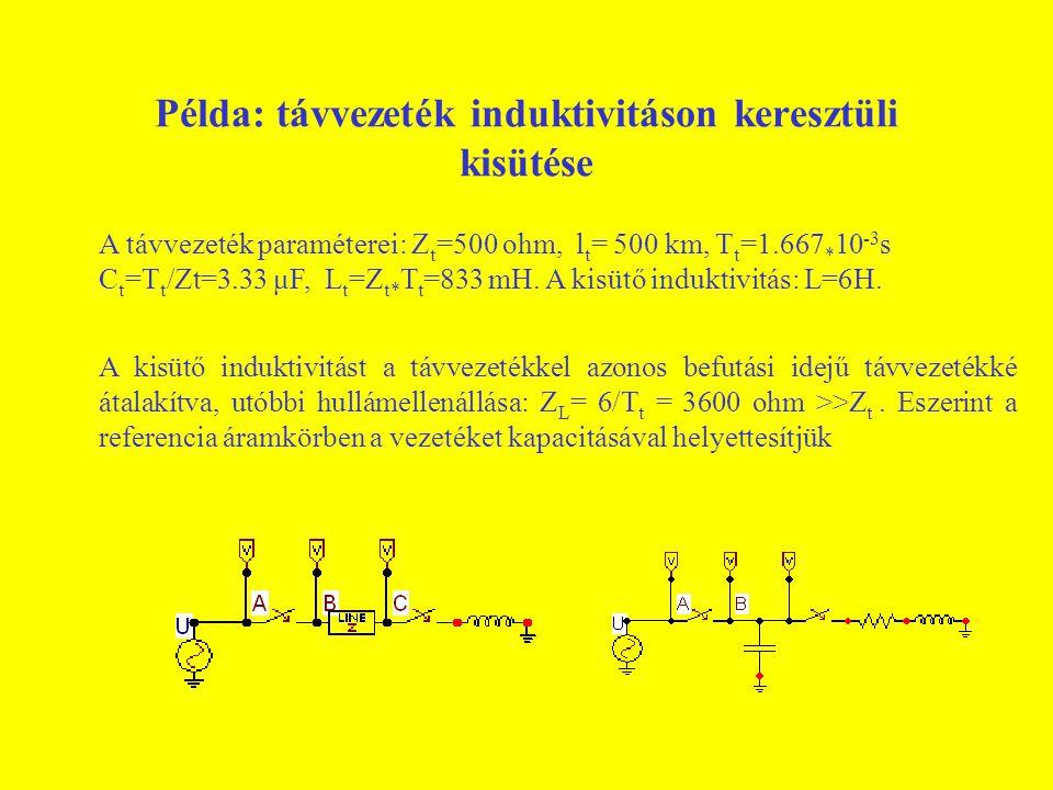 Példa: távvezeték induktivitáson keresztüli kisütése A távvezeték paraméterei: Z t =500 ohm, l t = 500 km, T t =1.667 * 10 -3 s C t =T t /Zt=3.33 μF,