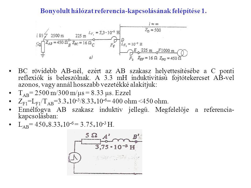 Bonyolult hálózat referencia-kapcsolásának felépítése 1. BC rövidebb AB-nél, ezért az AB szakasz helyettesítésébe a C ponti reflexiók is beleszólnak.