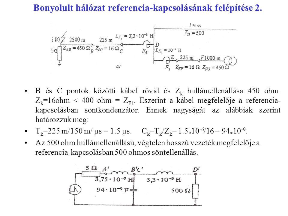 Bonyolult hálózat referencia-kapcsolásának felépítése 2. B és C pontok közötti kábel rövid és Z k hullámellenállása 450 ohm. Z k =16ohm < 400 ohm = Z