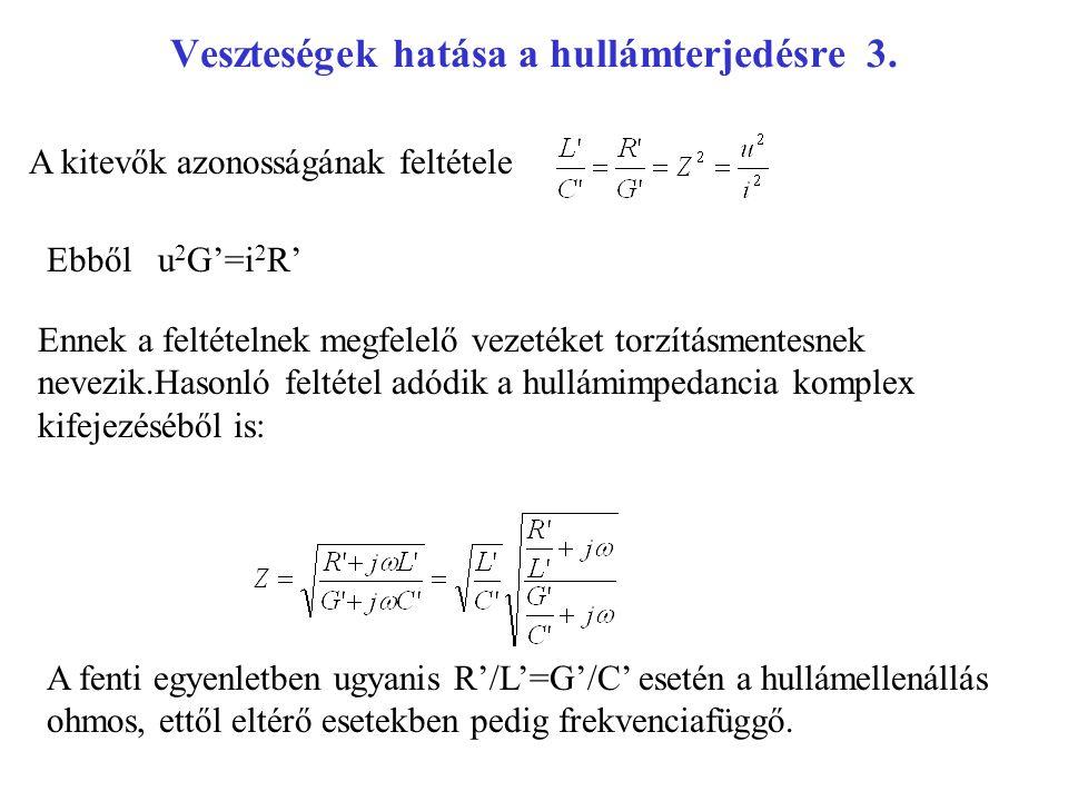 Veszteségek hatása a hullámterjedésre 3. A kitevők azonosságának feltétele Ebből u 2 G'=i 2 R' Ennek a feltételnek megfelelő vezetéket torzításmentesn
