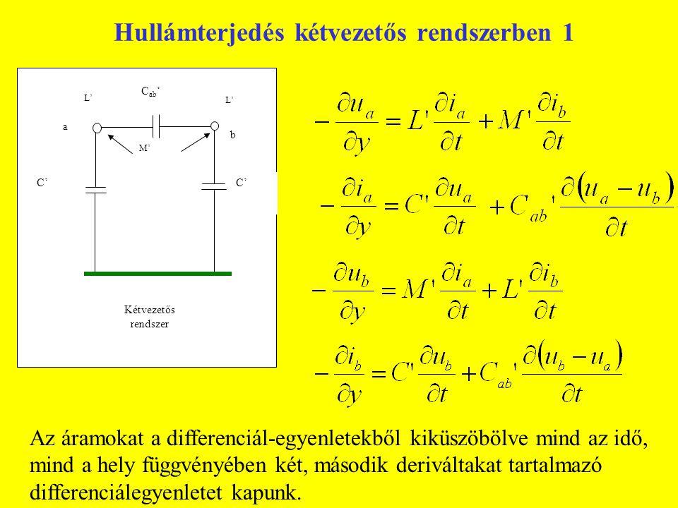 L' L' M' C' C ab ' a b Kétvezetős rendszer Az áramokat a differenciál-egyenletekből kiküszöbölve mind az idő, mind a hely függvényében két, második de