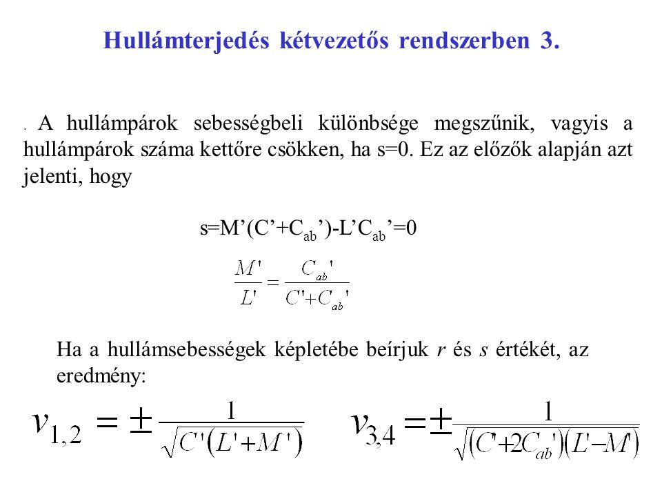 Hullámterjedés kétvezetős rendszerben 3.. A hullámpárok sebességbeli különbsége megszűnik, vagyis a hullámpárok száma kettőre csökken, ha s=0. Ez az e