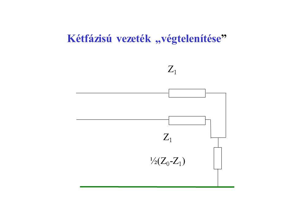 """Kétfázisú vezeték """"végtelenítése"""" ½(Z 0 -Z 1 ) Z1 Z1 Z1 Z1"""